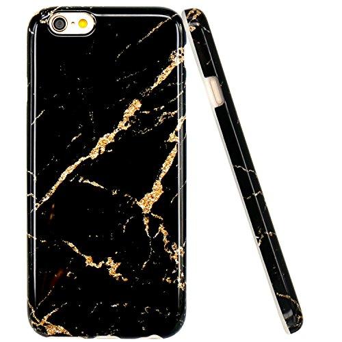 Coque iPhone 6, Coque iPhone 6S, JIAXIUFEN Silicone TPU Étui Housse Souple Antichoc Protecteur Cover Case - Noir Marbre Désign Noir Or