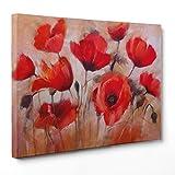 Bild auf Leinwand Canvas–Gerahmt–fertig zum Aufhängen–Rote Mohnblumen Illustration Dimensione: 50x70cm A - Senza Cornice