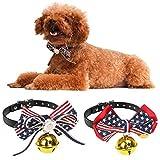 Pawaboo Hundehalsband mit Bell, [2Stück] Einstellbar Haustier Hunde Halsband halskette Weihnachten Fliege Schleife Glocken Halskrause Hundefliege Halsschleife für Welpen Katze, Fahne US, Für 27cm - 34cm