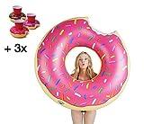 XXL Riesen aufblasbarer angebissener Donut Biss Schwimmring Schwimmreif Schokoladen - Design für den Pool, See & Strand, Meer, Wasser mit 3x Getränkehalter Donut für Flaschen und Getränke, Cocktail pink, braun(pink)