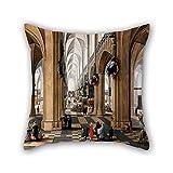 Peinture à l'huile Pieter Neeffs The Elder–Une Église Intérieur avec élégant Figurines Figurines de Promenades et la Participation de masse Oreiller 50,8x 50,8cm/50par 50cm Meilleur Choix pour elle, Beddi