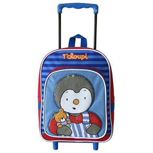 Tchoupi - Sac à dos roulettes Tchoupi bleu et rouge pour la maternelle