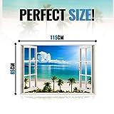 3D-Wandbild Geöffnetes Fenster - großformatig aus hochwertigem Vinyl - wiederverwendbar - Wandaufkleber - Hochwertige Aufkleber - Wandtattoo Fenster - 3D Fototapete Strand und Meer 85 x 115 cm für 3D-Wandbild Geöffnetes Fenster - großformatig aus hochwertigem Vinyl - wiederverwendbar - Wandaufkleber - Hochwertige Aufkleber - Wandtattoo Fenster - 3D Fototapete Strand und Meer 85 x 115 cm