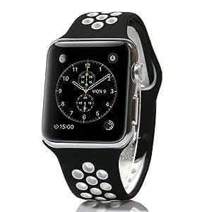 AWStech 38mm Armband für Apple Watch Series 1 Series 2 Sport Edition Schwarz Weiss Soft Silikon Strap Replacement Wristband Uhrenarmband Ersatzband für iWatch Apple Watch