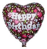 Ballongruesse - Blumiger Herzballon zum Geburtstag