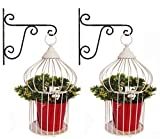 #4: NAYAB (Set of 6) 2 Vintage Ivory Tabletop Decorative Iron Birdcage Plant Stand with 2 Hanging Wall L-Bracket and 2 Metal Pots