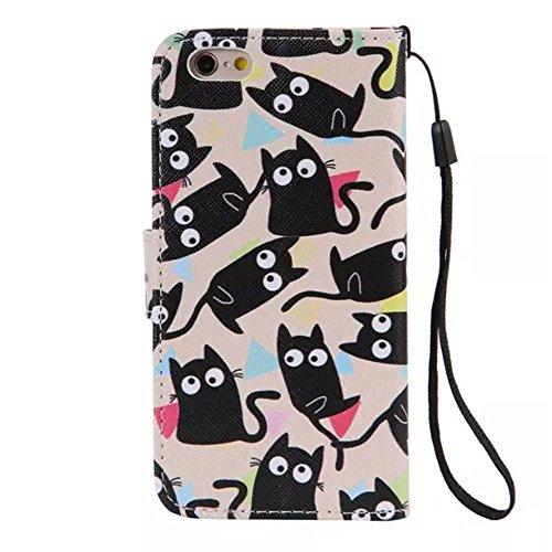 Mo-beauty ® Cover in ecopelle a portafoglio per Apple iPhone 6/6S [proteggischermo in vetro temperato incluso] con cordicella da polso, modello colorato, con tasche per carta di credito Black cats iPh Black cats