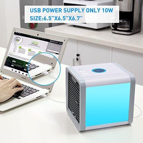 Aire Acondicionado Portátil Enfriador ,Climatizador Evaporativo Aire Acondicionado 3 en 1 Mini Enfriador Humidificador Purificador de Aire Portátil USB Aire Acondicionado [Sin Freón & Respetuoso del Medio Ambiente] para Casa/Oficina/Camper/Garaje