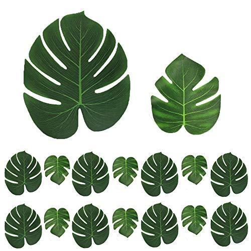 32 Stk. künstlich Blätter (16 stk 35*29 cm + 16 stk 20,5*17,5 cm) gefälschte Palmblatt Palme Monstera Kunstpflanze Floristik Basteln Deko für Hawaii Jungle Beach Dschungel Theme Party Dekorationen - Dschungel-palme