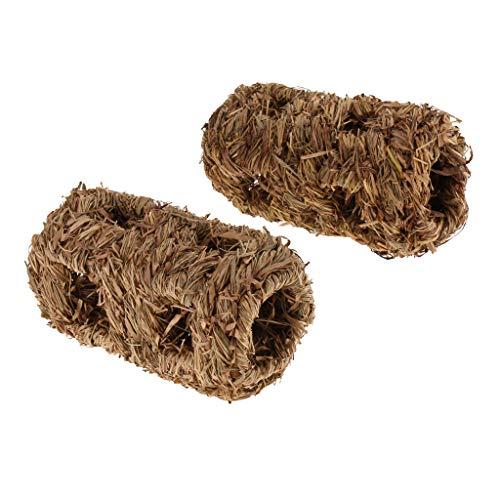 KESOTO 2 Stück Kleintier Tunnel Gras Spieltunnel Röhre Tube für Hamster Ratten Frettchen Chinchilla Meerschweinchen und mehr - Typ 1