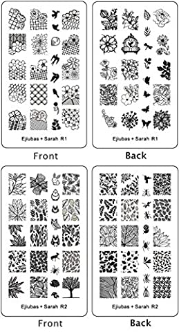 ejiubas Double face Nature vernis à ongles stamping Plaques Stamping Nail Art Kit pour animal Nail Art Design Floral