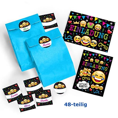 JuNa-Experten 12-er Set Einladungskarten, Umschläge, Tüten / blau, Aufkleber Kindergeburtstag Mädchen Jungen Jungs Geburtstagseinladungen Einladungen Geburtstag Kinder Kartenset schwarz