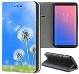 Samsung Galaxy J1 2016 J120 Hülle Premium Smart Einseitig Flipcover Hülle Samsung J1 2016 Flip Case Handyhülle Galaxy J1 2016 Motiv (1586 Puste Blume Blau Wiese)