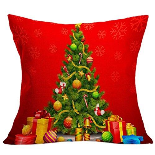 Weihnachten Kissen Kissenbezug - Kingwo Leinen Platz Wurf Flachs Kissenbezug Dekorative Kissen Kissenbezug (Rot) (Top Bag Square Handle)