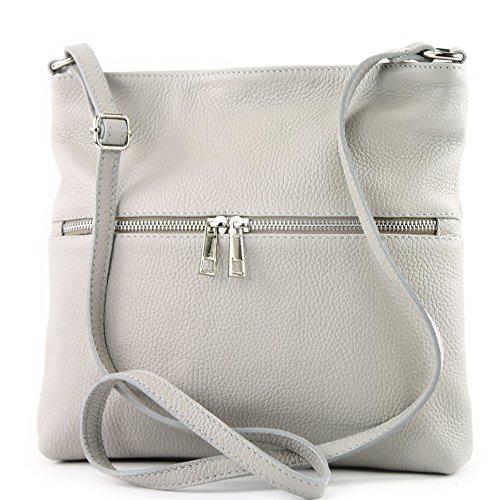 modamoda de -. Sac en cuir ital sac à bandoulière croisé dames sac de messager en cuir T144 Grau