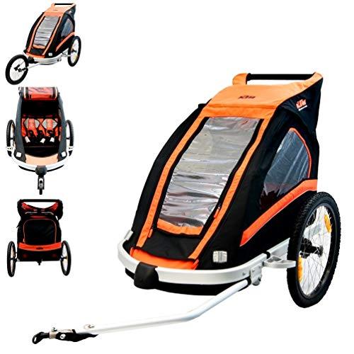 BISOMO KTM Fahrrad Anhänger für 2 Kinder + Jogger + 360° Laufrad - mit Allwetter Überzug schwarz/orange + KTM Key Holder