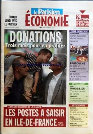 PARISIEN ECONOMIE (LE) du 19/09/2005 - D...