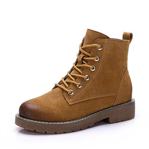 Schnüren Martin stiefel Einfache Kurze röhre Damenstiefel-braun Fußlänge=22.3CM(8.8Inch) (Stiefel Kleiden Zip Herren)