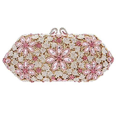 Bonjanvye Shining Blossoming Flower Purses Crystal Handbags for Girls Pink