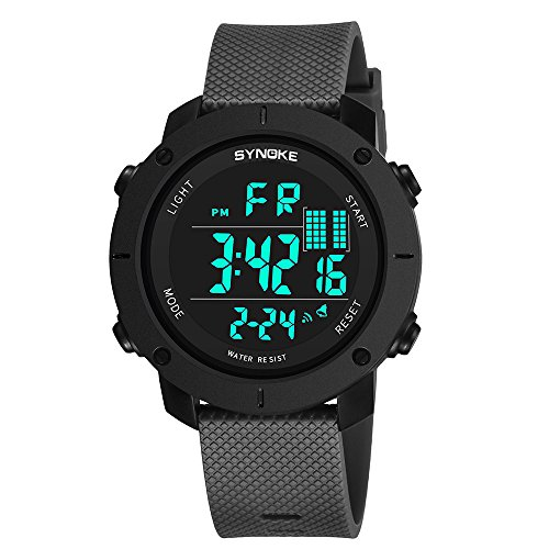 orologio uomo Orologio digitale SYNOKE multifunzione 50M con orologio impermeabile a LED a doppia azione digitale