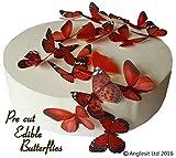 24 x Vorgeschnittene schöne rote Schmetterlinge essbares Reispapier/Oblatenpapier Kuchendekoration, Dekoration für Cupcake Kuchen Dessert, für Geburtstag Party Hochzeit Babyparty Valentinstag Halloween (M)
