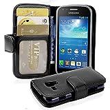 Cadorabo - Funda Samsung Galaxy TREND PLUS (S7580) Book Style de Cuero Sintético en Diseño Libro - Etui Case Cover Carcasa Caja Protección con Tarjetero en NEGRO-ÓXIDO