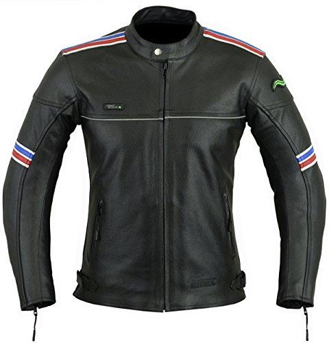 Mens RIDEX LJ-4Biker Moto motocicleta chaqueta de piel Protecciones CE negro negro Large