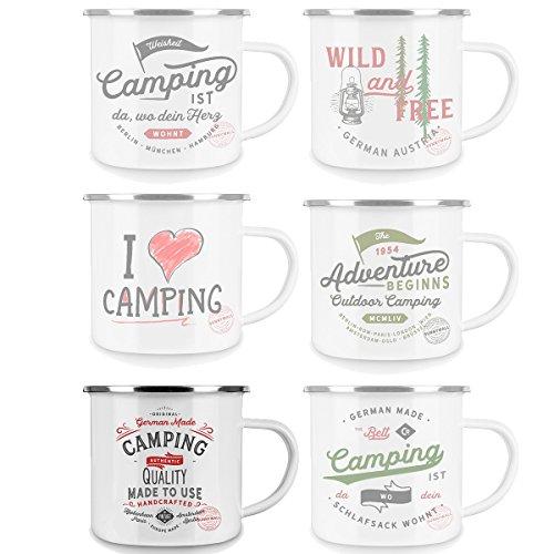 Sunnywall Emaille Tasse - Kaffee Becher - Tasse weiß/Silver Retro - Vintage robust - 300 ml - für Retro-Küche, Picknick, Outdoor, Camping - Becher emailliert (Europe Made | 95-emaille)