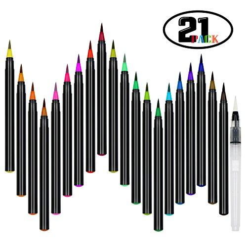 DigHealth 21 Stück Pinselstifte, Pinselstift Set 20 Farben Aquarell Pinselstifte mit 1 Wasserpinsel Stifte, Ungiftige, Wasserfarben Effekt, Weiche Flexible Echtpinsel Spitze für Kalligrafie, Färbung (Spitze Weiche Flexible)