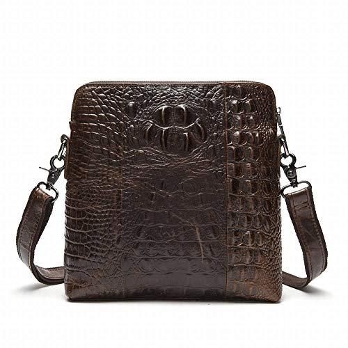 Kaffee Krokodil Tasche (YWM Kreative Mode Multifunktionale Männer Geprägte Umhängetasche Vertikale Schicht Ledertasche Krokodil Männer Tasche für Männer, Kaffee)