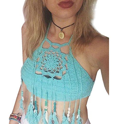 Angelwing Damen Badeanzüge Bademode Bikini Oberteile Tops Häkel Weben Fransen Schwimmanzug Marine Bathing Suit Blau