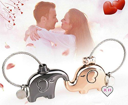 QILEGN Llaveros de elefantes besando dulce regalo para la decoración de parejas