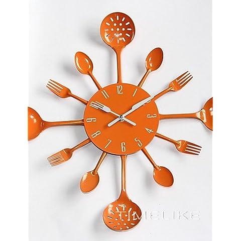 Da Wu Jia wall art design moderno cucina in metallo utensile posate Orologio da parete Forcella Cucchiaio Ladel Home decorazioni di Natale un grande dono colorato , blu cielo