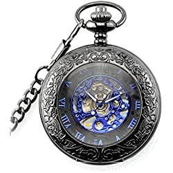 Jelercy Womens Transparent Case with Luxury Blue Roman Numberal and Needle Pocket Watch,Half Hunter