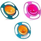 Berry Président (TM) Lot de 3: Magic Bol Rotation de 360degrés résistant aux éclaboussures Gyro Bol avec couvercle pour tout-petits bébé pour enfants, Orange + Bleu + Vert