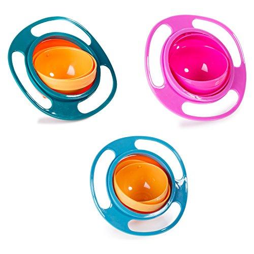 Berry President (TM), 3er-Set Magic Bowl, 360 Grad drehbar, auslaufsicher, Gyro-Schüssel mit Deckel, für Kleinkinder, Babys, Kinder, Orange + Blau + Grün - Kleinkind, , Essen, Schüssel-set
