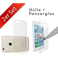 Movoja 2in1 Set: [iPhone 6/6S Schutzhülle + Panzerglas] iPhone 6 / 6S Huelle & iPhone6 Panzerglas Schutzfolie Gorilla Glas mit 3D Force Touch Glass Displayschutz Screen Protector Crystal-Case Silikon-Case TPU Transparent Klar Cover Apple Case