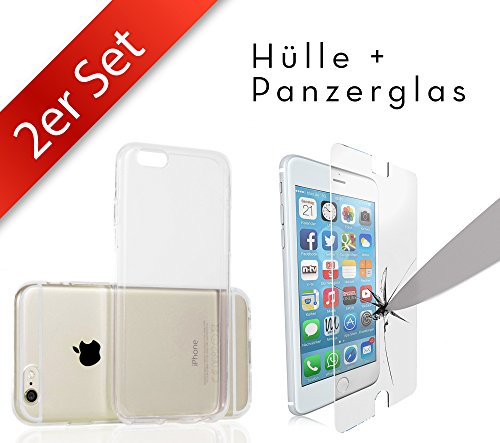 Movoja 2in1 Set: [iPhone 6/6S Schutzhülle + Panzerglas] iPhone 6 / 6S Huelle & iPhone6 Panzerglas Schutzfolie Gorilla Glas mit 3D Force Touch Glass Displayschutz Screen Protector Crystal-Case Silikon-Case TPU - Iphone Protector Screen 6 Set
