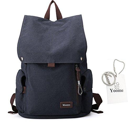 Yoome Large Capacity Rucksack für Schule Canvas Rucksack Klappe Rucksack für Männer 15 Zoll Laptop Travel College Wandern Camping Bag - Navy (Klappe Waschen)
