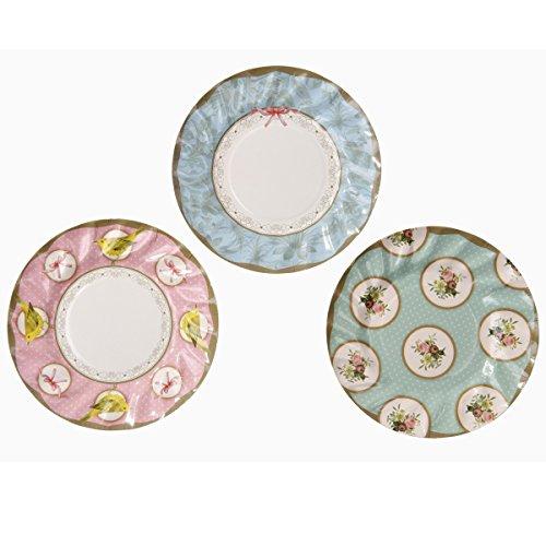 Talking Tables Bunt gemusterte Teller für Teekränzchen und Geburtstage, 21 cm (12 pro Pack in 3 Designs)