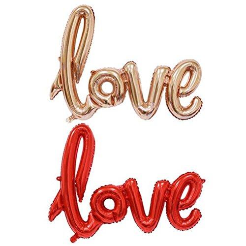 NUOLUX Lettre d'amour,Ballon de mariage,41 pouces aluminium ballon Mylar ballons pour la décoration de mariage jour Valentin(Or rose)