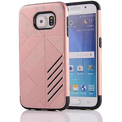 Galaxy S6Funda, G920, S6G920,, M. jvisun diseño bicolour de carcasa a prueba de golpes Resistente al Impacto Protectora Carcasa de plástico + goma iPad Mini Carcasa rígida Unisex Skin para Samsung Galaxy S6G920, plástico caucho, oro rosa, For Samsung Galaxy S6