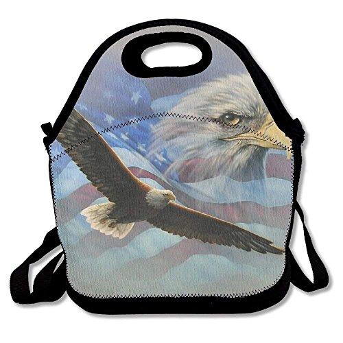 Eagle American Flag Lunch Tote Bag Lunchbox Handbag For Men Women Adult Kids Boys Girls (Flag Eagle American)