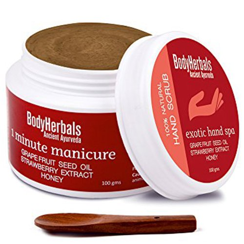 BodyHerbals 1 Minute Manicure, Elbow / Hand Scrub Grape Fruit Seed Oil, Strawberry Extract & Honey (100 gm) 100% Natural, Beauty, Skin Care, Hands & Nails