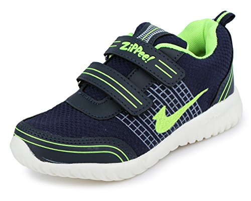 TRASE Zippie-HY Navy/Green Kids Sports Shoes for Boys-Girls-9C IND/UK