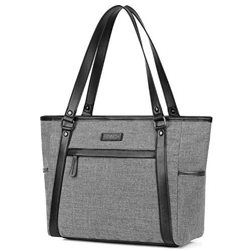Damen Umhängetasche Aktentasche Schultertasche Reisetasche Handtasche stilvoll Shopper Frauen Taschen Messenger Bag Tote Bag / 15,6 Zoll Business Arbeitstasche Laptoptasche für Notebook,Grau -