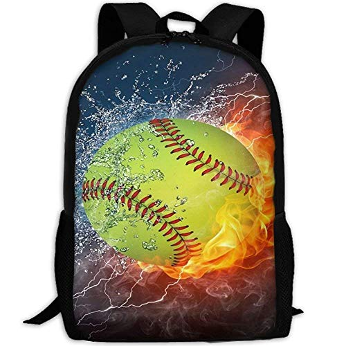 School Backpack, Klnsha7 Laptop Backpack Fire Softball Customized Mouse Pad Rectangle Mouse Pad Gaming Mouse Mat MP2264 Computer Bag College School Backpack for Women and Men - (Softball-rucksäcke)