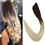 LaaVoo 16 Pouces 5Pcs/70g Clip Extensions de Cheveux Brésiliens pour la Tête Pleine...