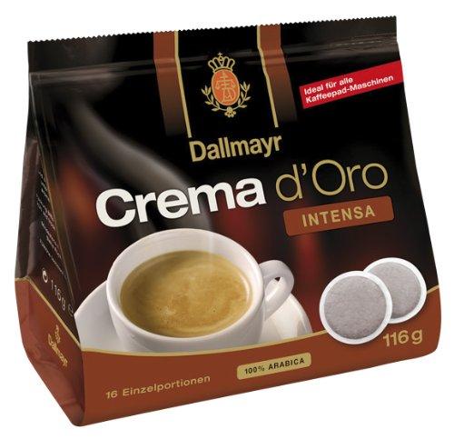 Dallmayr Crema d'oro Intensa Kaffe Pads 116g - 5er Karton (5 x 16 Pads)