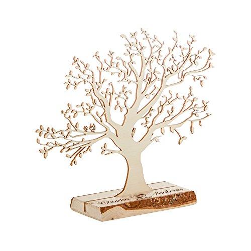 Casa Vivente Geldbaum aus Holz mit Gravur – Personalisiert mit [Namen] – Motiv Ringe – Foto-Baum – Geld-Geschenke Verpackung zur Hochzeit – 22 cm hoch – Klein